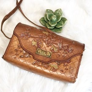 Vintage leather handmade purse